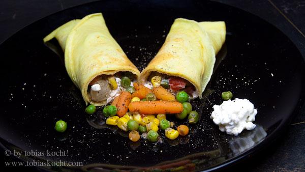 Curry Pfannkuchen mit Gemüse 1 Curry Pfannkuchen mit Gemüse und Hüttenkäse